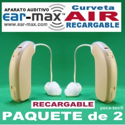 Paquete de 2 EAR MAX® AIR Aparato Auditivo Curveta RECARGABLE Discreto