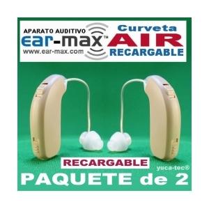 Paquete de 2 EAR MAX® AIR Aparato Auditivo Curveta RECARGABLE Discreto