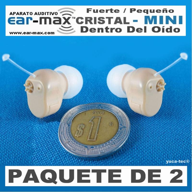Paquete de 2 EAR MAX® Cristal MINI- Aparato Auditivo Auxiliar - Dentro Del Oído