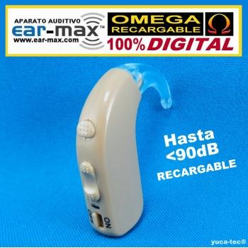 Ear Max® OMEGA RECARGABLE – 100% DIGITAL  Aparato Auditivo Auxiliar – Estilo Curveta