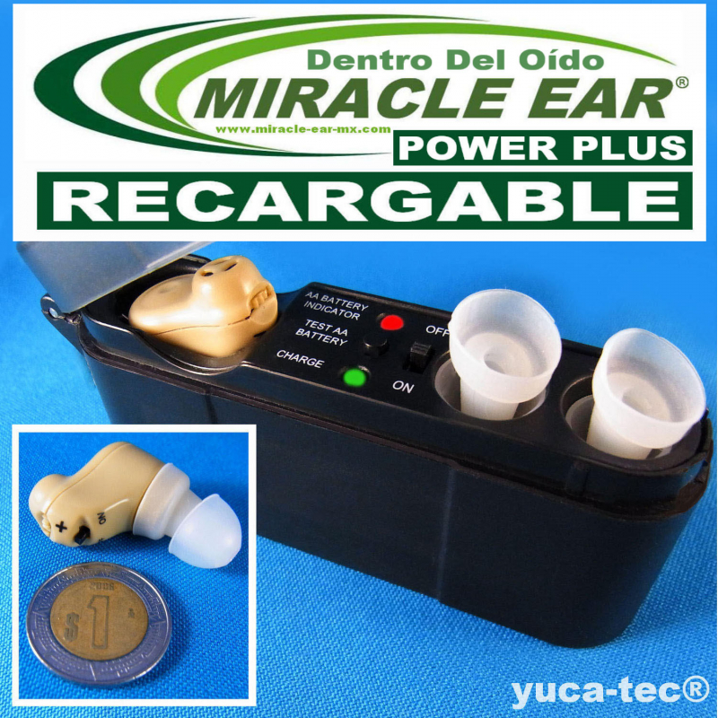 MIRACLE EAR® POWER PLUS Aparato Auditivo RECARGABLE Dentro del Oído