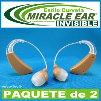 Paquete de 2 MIRACLE EAR® INVISIBLE Aparato Auditivo BATERÍA Estilo Curveta