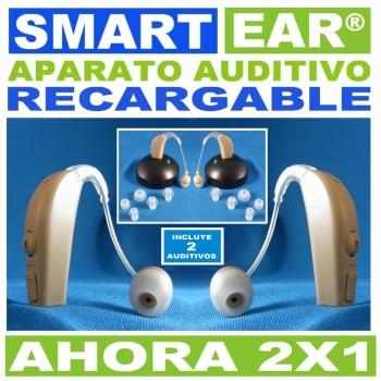 SMART–EAR® 2X1 Aparato Auditivo RECARGABLE Discreto Estilo Curveta