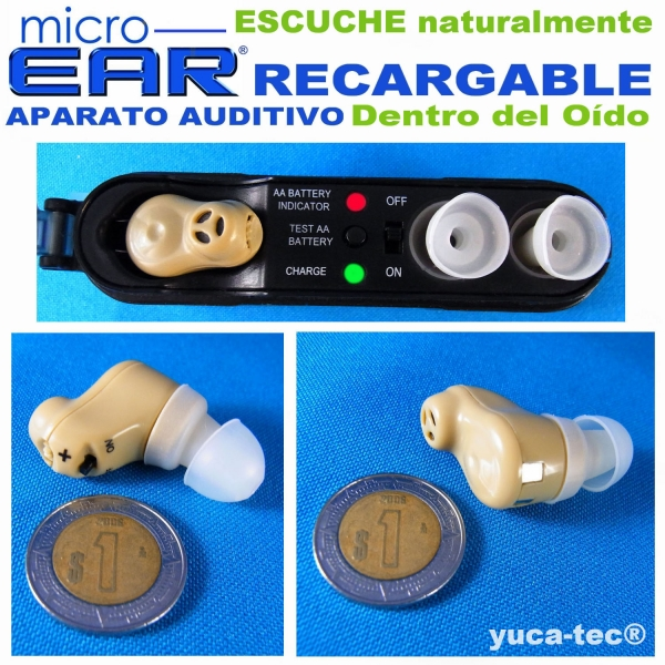 MICRO EAR® Aparato Auditivo RECARGABLE Dentro Del Oído