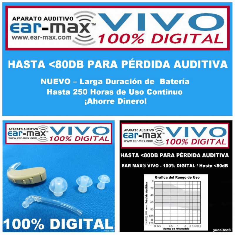 Ear Max® VIVO - 100% DIGITAL - Aparato Auditivo Auxiliar – Estilo Curveta
