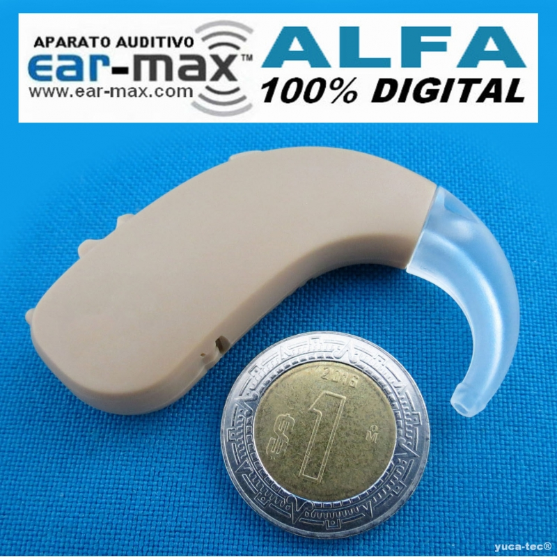 Ear Max Fuerte Curveta DIGITAL ALFA  Con 2 Canales de Frecuencia Sordera Aparato Auditivo