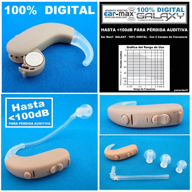 Ear Max® GALAXY - 100% DIGITAL - Aparato Auditivo Auxiliar PARA PÉRDIDA AUDITIVA PROFUNDO - HASTA <100dB