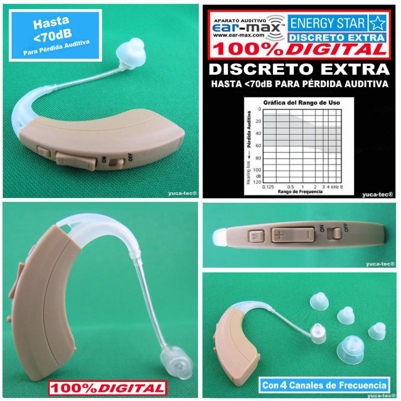 Paquete de 2 - EAR MAX® ENERGY STAR - DISCRETO EXTRA - Aparato Auditivo 100% DIGITAL - con 4 Canales de Frecuencia