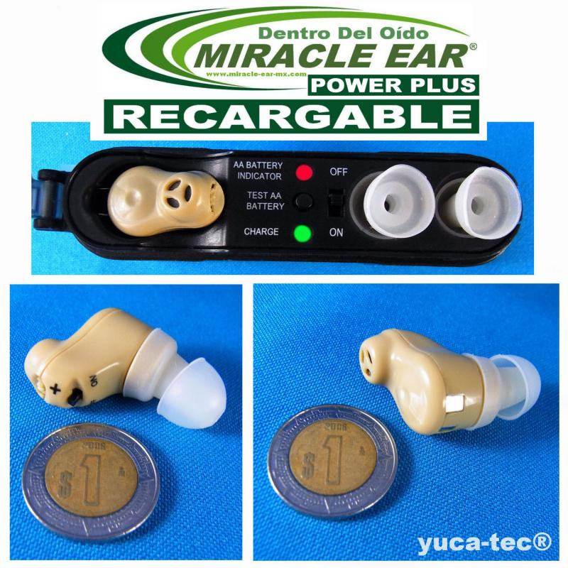 Paquete de 2 MIRACLE EAR® POWER PLUS Aparato Auditivo RECARGABLE Dentro del Oído